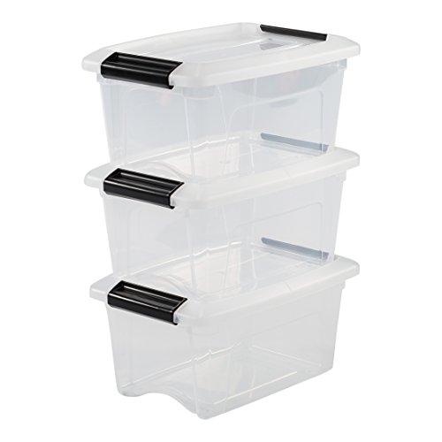 Iris Ohyama 103424 Lot de 3 boîtes de Rangement empilables, Plastique, Transparent, 5 L