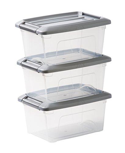 Iris Ohyama 103425 Lot de 3 boîtes de rangement empilables, Plastique, Transparent/Gris, 5 L
