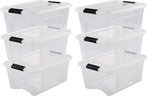 Iris Ohyama 103430 Lot de 6 boîtes de Rangement empilables, Plastique, Transparent, 15 L