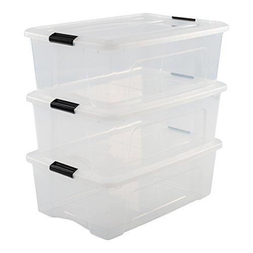 Iris Ohyama 103432 Lot de 3 boîtes de Rangement empilables, Plastique, Transparent, 30 L