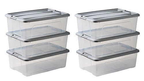 Iris Ohyama 103435 Lot de boîtes de Rangement en Plastique, Transparent Couvercle Gris, 30 L
