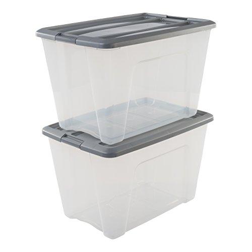 Iris Ohyama 103441 Lot de 2 boîtes de Rangement empilables, Plastique, Transparent/Gris, 60 L