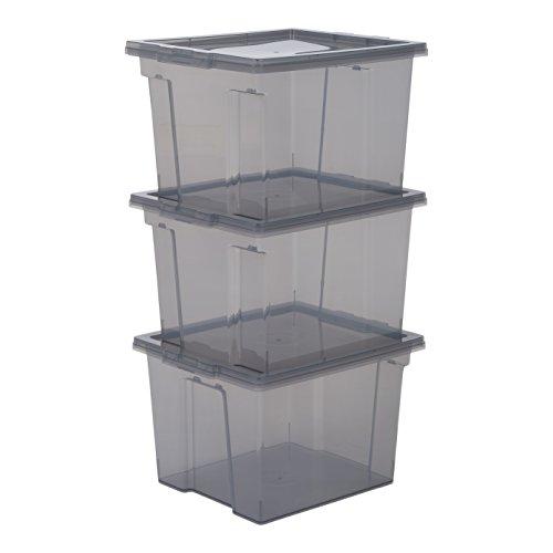Iris Ohyama, Lot de 3 boîtes de rangement en plastique avec couvercle - Useful Storage Box - USB-S, Gris, 13L, 29 x 24 x 18,5 cm