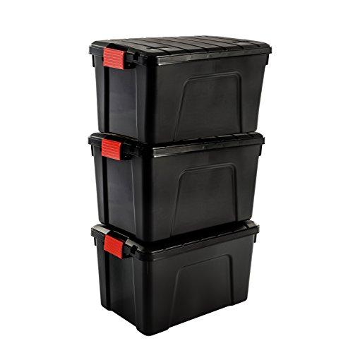 Iris Ohyama SIA-60, Set- 3 Boites de Rangement Bricolage - Store It All- 60L, Noir et Rouge, 59 x 39,5 x 35,5 cm, Plastique (60 L)