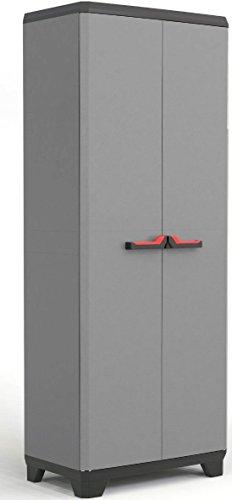 KETER | Armoire haute Stilo, Gris/Noir/Rouge, 68 x 39 x 173 cm, Plastique