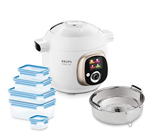 Krups CZ7001.GO Cook4Me Multicuiseur, Acier, 6 liters, Blanc/Gris