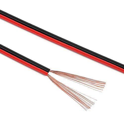 Manax Câble de Haut-Parleur 2 x 0,75 mm², CCA (Box Câble/Câble Audio) (50m 0,75mm² - 1 Ring, rouge/noir)