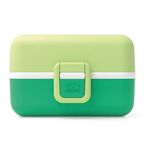 monbento - MB Tresor Vert Apple Lunch Box Enfant - Boite bento Repas ou goûter 3 Compartiments - sans BPA - Durable et sûre (16 x 9,2 x 10,4 cm, Pomme)