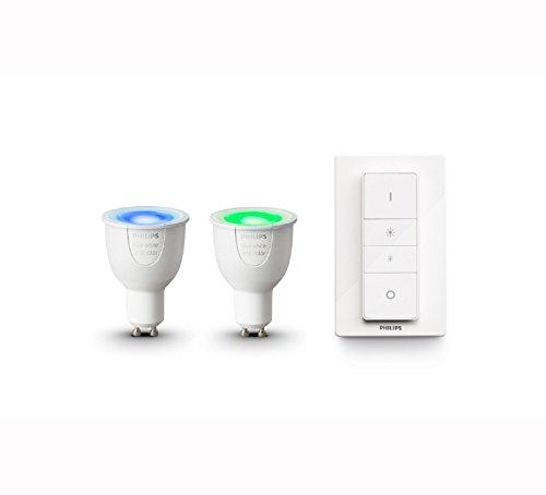 Philips Hue Lot de 2 Ampoules Connectées White & Color GU10 + Télécommande Hue Dim Switch - Fonctionne avec Alexa