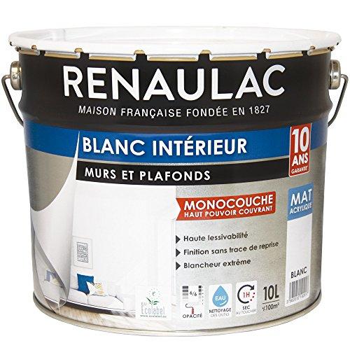 Renaulac Peinture intérieur Murs & Plafonds Monocouche Acrylique Blanc Mat 10L - 100m²