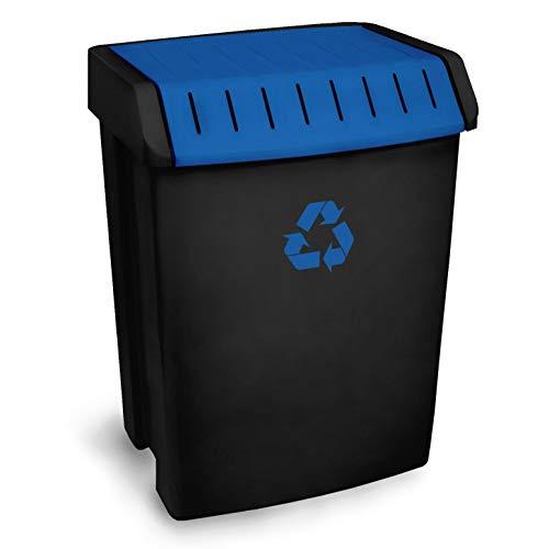 TATAY 1102300 Poubelle de Recyclage 50 L Plastique Noir/Bleu 40 x 33,5 x 57,5 cm