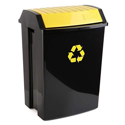 TATAY 1102302 Poubelle de Recyclage 50 L Plastique Noir/Jaune 40 x 33,5 x 57,5 cm