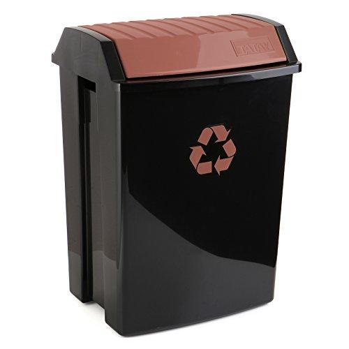 TATAY 1102303 Poubelle de Recyclage 50 L Plastique Noir/Marron 40 x 33,5 x 57,5 cm