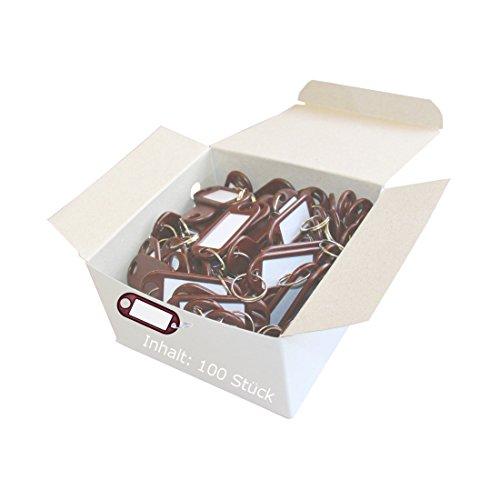 Wedo 262801800 Porte-clés plastique (Lot de 100 marron)